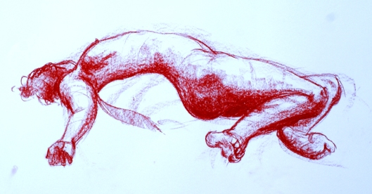 Recent life drawings in Conte crayon